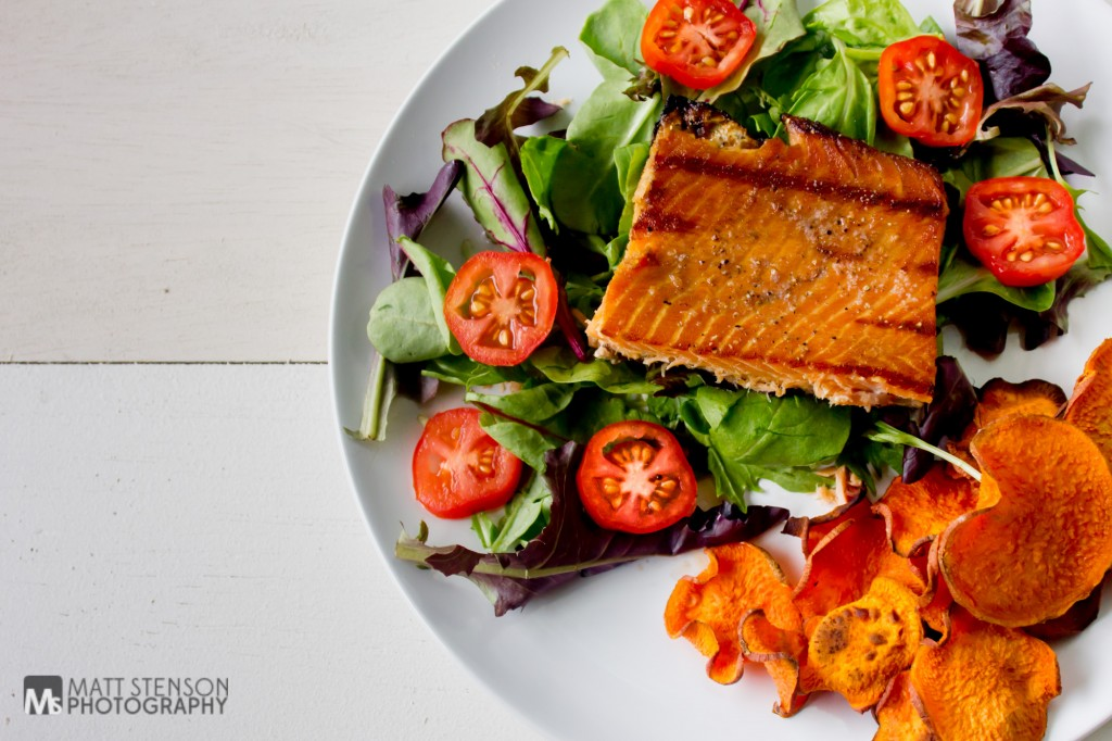 Sweet Patato Chips and Trout Salad